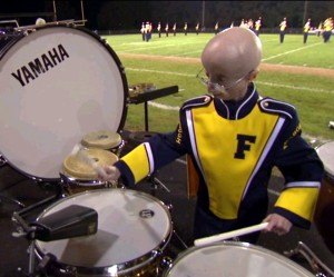Sam Berns in the percussion pit.